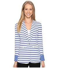 Hatley Blazer White Royal Blue Stripe Women's Jacket
