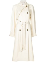 Elizabeth And James Raw Edge Trench Coat Nude And Neutrals