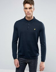 Lyle And Scott Knit Polo Regular Fit Eagle Logo In Navy Navy