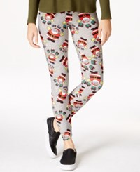 Planet Gold Juniors' Printed Christmas Leggings Heather Grey Santa