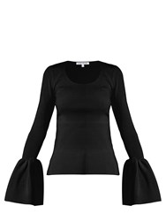Elizabeth And James Willow Bell Cuff Ribbed Knit Top Black