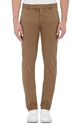 J Brand Men's Twill Brooks Trousers Brown Dark Green
