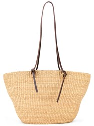 Muun Woven Beach Bag Women Leather Straw One Size Nude Neutrals