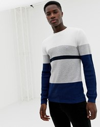 Selected Homme Knitted Jumper With Block Stripes Navy Peony