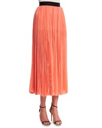 J. Mendel Pleated Silk Chiffon Midi Skirt Coral