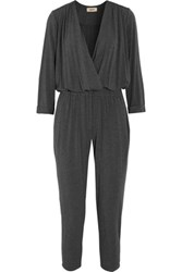 L'agence Natalie Wrap Effect Stretch Jersey Jumpsuit Anthracite