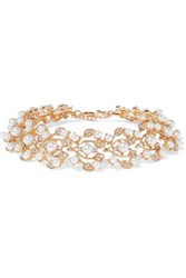 Kenneth Jay Lane Gold Tone Crystal And Faux Pearl Choker One Size