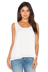Heather Silk Double Layer Tank White