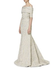 Carolina Herrera Jacquard Evening Gown White Gold