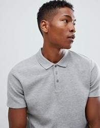 Selected Homme Polo Shirt In Structured Waffle Grey Melange