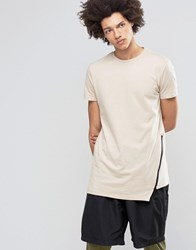 Asos Super Longline T Shirt With Angled Zip Hem In Beige Oxford Tan White