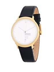 Mondaine Leather Strap Watch Black