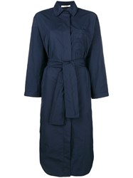 Odeeh Side Slit Boxy Shirt Dress Blue