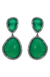 Susan Hanover Women's Semiprecious Stone Drop Earrings Emerald Green Gunmetal