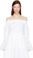 Alexander Mcqueen White Embroidered Off The Shoulder Blouse