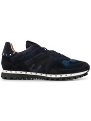 Valentino Camouflage Print Sneakers Blue