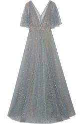 Marchesa Embellished Flocked Glittered Tulle Gown Gray