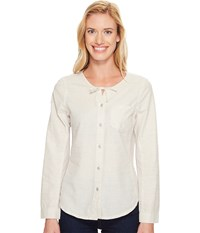 Woolrich Outside Air Eco Rich Shirt Silver Gray Women's Long Sleeve Button Up