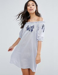 Influence Embroidered Cotton Bardot Dress Blue