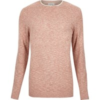 River Island Mens Light Red Marl Crew Neck Long Sleeve Jumper