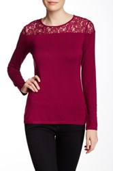 Laundry By Shelli Segal Contrast Long Sleeve Lace Blouse Red