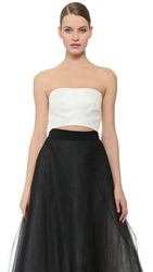 Monique Lhuillier Gazaar Bandeau Top Silk White