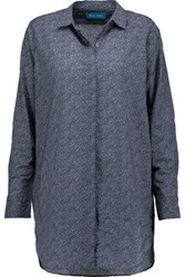 Mih Jeans M.I.H Oversized Printed Cotton Shirt Storm Blue