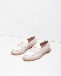 Band Of Outsiders Slipped Heel Kiltie Penny Loafer Nude White