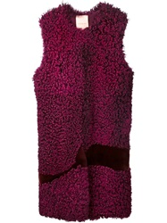 Roksanda Ilincic Roksanda Sleeveless Fur Coat Pink And Purple