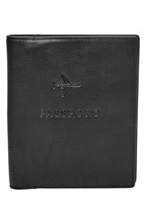 Men's Fossil Leather Passport Case Black