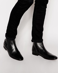Asos Chelsea Boots In Black Leather With Buckle Strap