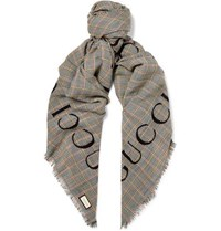 Gucci Fringed Logo Print Prince Of Wales Checked Wool Scarf Gray