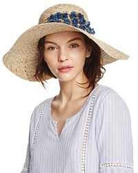 Aqua Straw Floppy Sun Hat With Rosette Trim 100 Exclusive Natural Blue