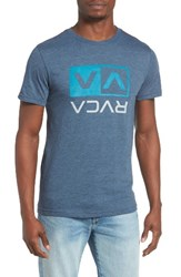 Rvca Men's Two Color Flipped Box T Shirt Dark Denim