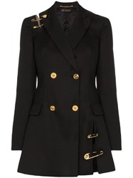 Versace Safety Pin Double Breasted Blazer Dress Black