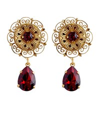 Dolce And Gabbana Crystal Teardrop Earrings Female Red