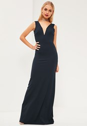Missguided Navy V Plunge Maxi Dress