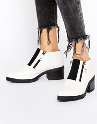 Truffle Collection Fawn Front Zip Ankle Boots Whitepu