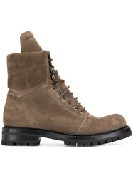 Rick Owens Lace Up Hiking Boots Brown