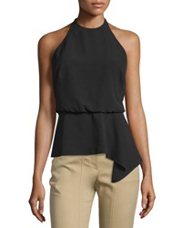 Halston Halter Neck Strappy Back Top Black