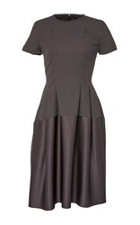 Paule Ka Short Sleeve A Line Dress Grey