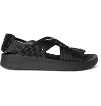 Malibu Canyon Faux Leather Trimmed Woven Webbing Sandals Black