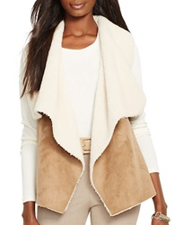 Lauren Ralph Lauren Petite Faux Fur And Faux Suede Vest Brown