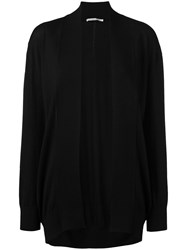 Agnona Shawl Lapel Open Cardigan Women Silk Cashmere L Black