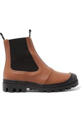 Loewe Rubber Trimmed Leather Chelsea Boots Tan