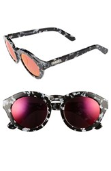 Diff Women's Dime 49Mm Retro Sunglasses Black White Red