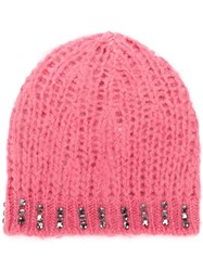 Pinko Embellished Knit Beanie Pink And Purple