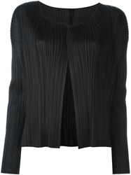 Issey Miyake Pleats Please By Ribbed V Neck Cardigan Black