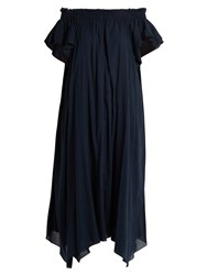 Loup Charmant Hydra Off The Shoulder Cotton Dress Navy