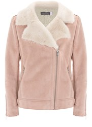 Mint Velvet Blossom Faux Fur Aviator Jacket Light Pink